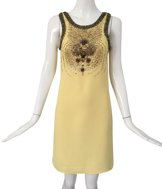Item - Yellow Sequin Embellished Mid-length Cocktail Dress Size 6 (S)