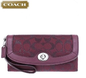 Coach Purple Metallic Baguette Wallet Signature Wristlet in Bordeaux-Silver