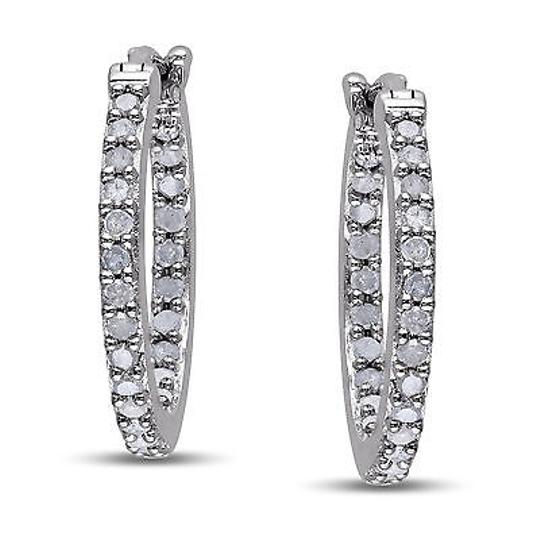 Other Sterling Silver 12 Ct Diamond Tw Hoop Earrings I3