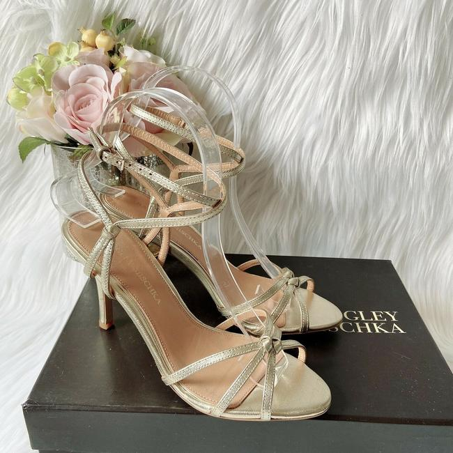 Item - Gold Kendal Crisscross Heel Ankle Strap Leather Sandals Size US 8.5 Regular (M, B)