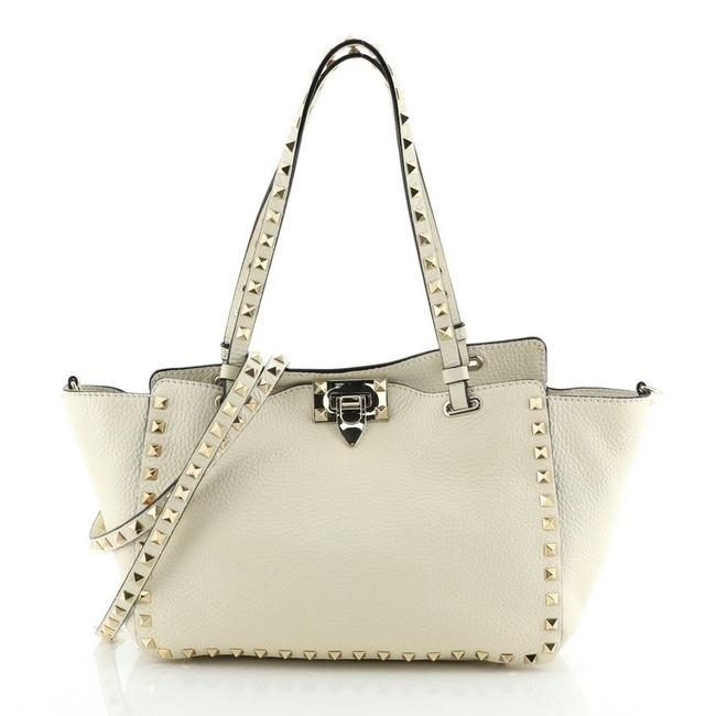 Item - Rockstud Pebbled Small White Leather Tote