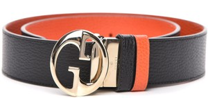 Gucci NEW REVERSIBLE GUCCI 95 CM GG LOGO THICK LEATHER BELT