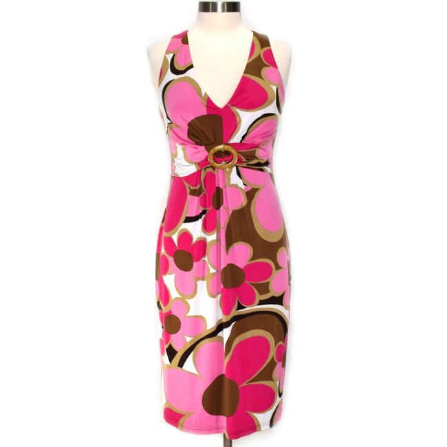 Item - Pink & Brown Retro Floral Sleeveless Sheath Mid-length Night Out Dress Size 8 (M)
