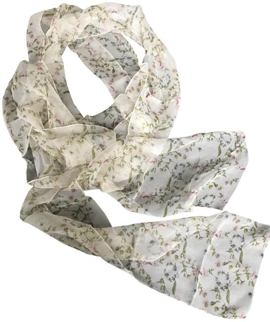 Dior White Vintage Christian Flowery - Perfect Condition Scarf/Wrap Dior White Vintage Christian Flowery - Perfect Condition Scarf/Wrap Image 1