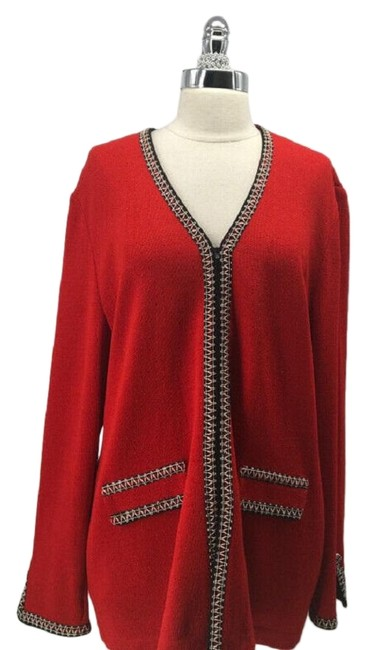 Item - Red Collection Knit Zip Front Long 2304-2-72519 Jacket Size 8 (M)