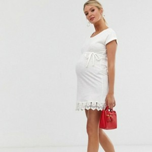 ASOS NWT Maternity Lace Trim T-Shirt Dress In White