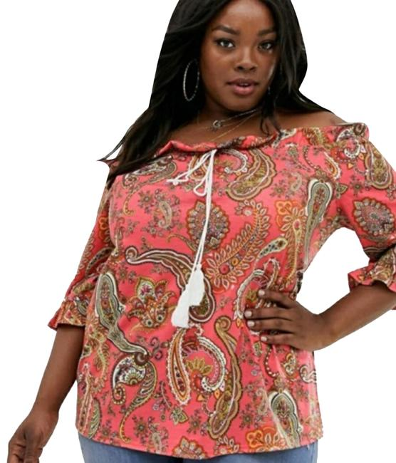 ASOS Red Simply Be Bardot In Paisley Blouse Size 14 (L) ASOS Red Simply Be Bardot In Paisley Blouse Size 14 (L) Image 1