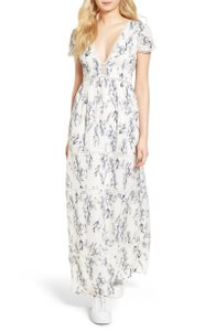 White, Blue Maxi Dress by Lucca Couture
