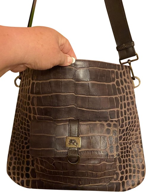Item - Brown Alligator Skin Leather Messenger Bag