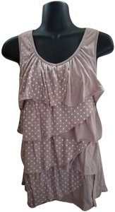 French Laundry Polka Dot Ruffled Summer Spring Boho Top Tan