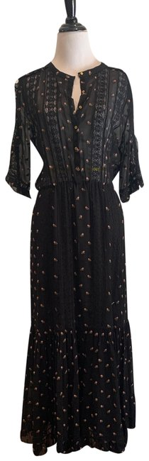 Item - Black Silk with Floral Detail Long Casual Maxi Dress Size 8 (M)