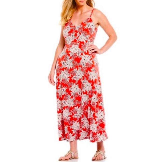 Vince Camuto Red Floral A Line Long Casual Maxi Dress Size 26 (Plus 3x) Vince Camuto Red Floral A Line Long Casual Maxi Dress Size 26 (Plus 3x) Image 1