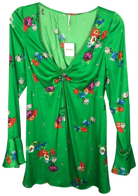 Item - Green Floral Satin Short Casual Dress Size 4 (S)