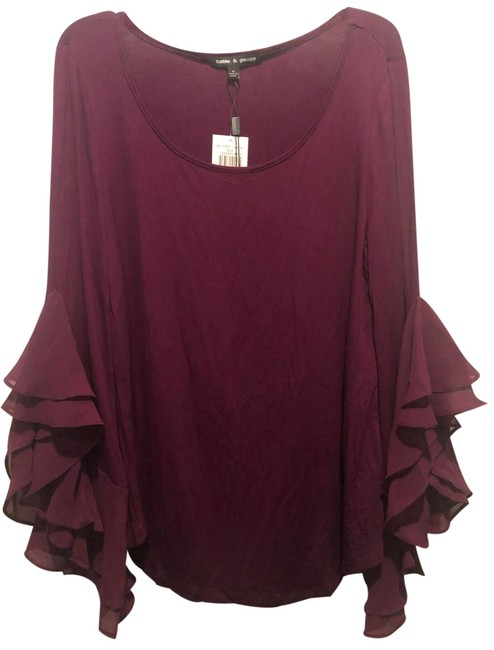 Item - Purple Frilly Sleeved Ladies Blouse Size 8 (M)