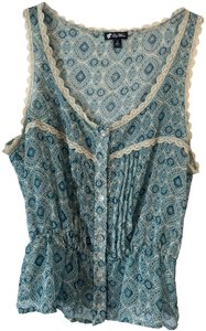 Lily White Sheer Lace Trim Top Turquoise