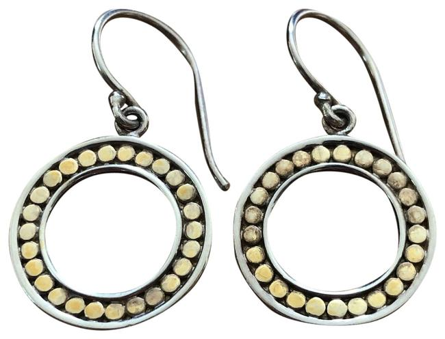 Item - Gold and Silver Open Circle Drop Earrings
