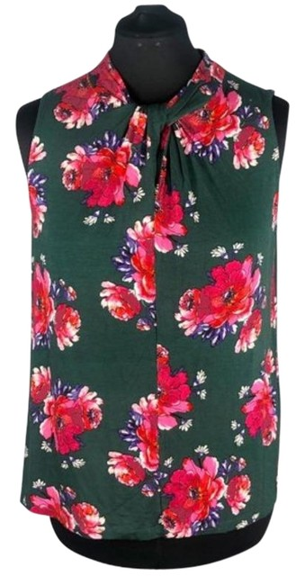 Item - Green Pink Virginia Vanessa Floral High Neck Twisted Tank Tunic Size 12 (L)