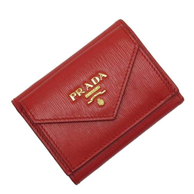 Item - Gold / Red Color Tri-fold Leather Ladies Wallet