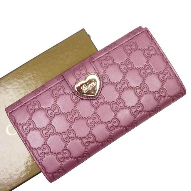 Item - Gold / Pink W Bifold Shima Heart Leather Ladies Wallet
