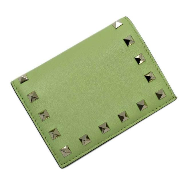 Item - Gold / Green Garavani Lock Stud Leather Studs Ladies Wallet