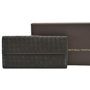 Bottega Veneta Bottega Veneta BOTTEGA VENETA W Hook Bifold Long Wallet Intrecciato Chocolate Brown Leather Women's Men's r6027