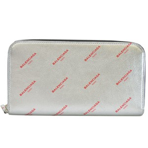 Balenciaga Balenciaga BALENCIAGA Round Zipper Wallet Silver Red Black Leather Ladies r6438