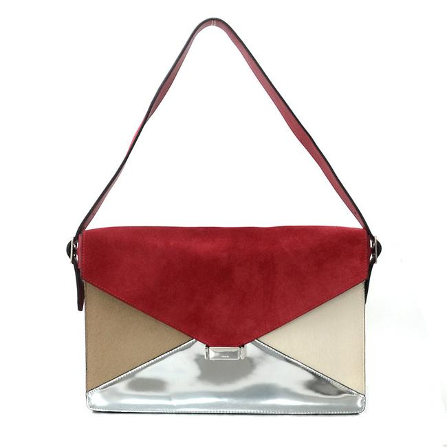 Item - Patent Harako Ladies R6786 Beige / Red Color / Silver / White Suede / Leather Shoulder Bag