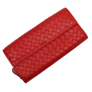 Bottega Veneta Bottega Veneta BOTTEGA VENETA Long Wallet Intrecciato Red Leather Ladies n9355a