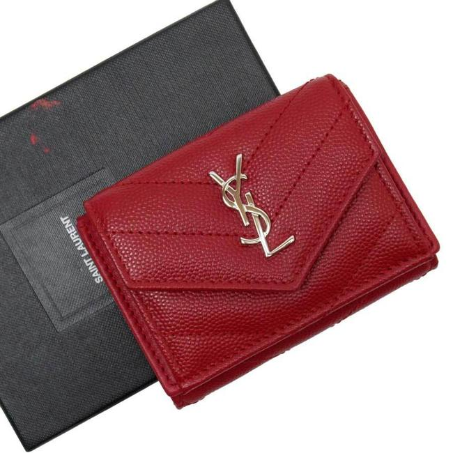 Item - Red Color Tri-fold Monogram Silver Leather Ladies Wallet