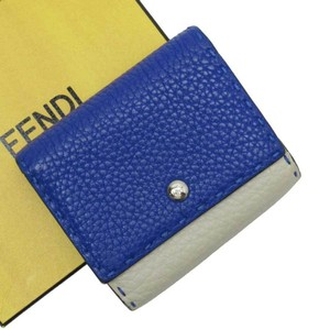Fendi FENDI Short Bi-Fold Wallet Celeria Navy Leather