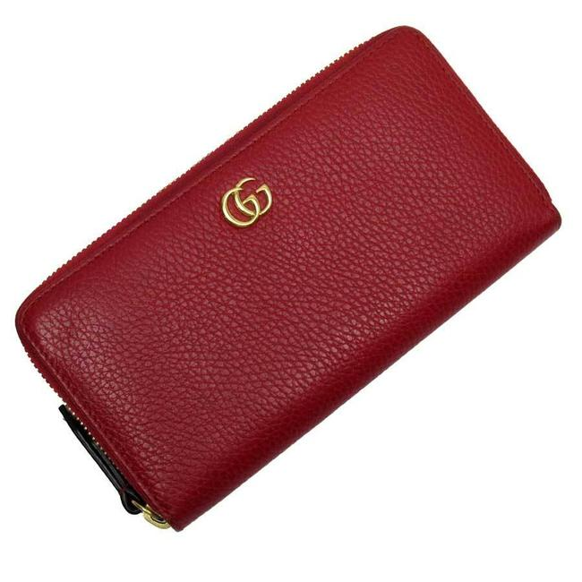 Item - Gold / Red Color Zipper Double G Leather Ladies Wallet