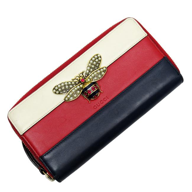 Item - Gold / Ivory / Navy / Red Color Long Zipper Queen Margaret Calf Faux Pearl Stone Ladies Wallet