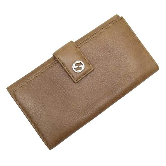 Item - Brown / Silver Long Hook Short Fold Double G Leather Ladies Wallet