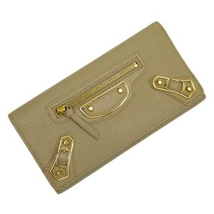 Balenciaga Balenciaga BALENCIAGA Wallet The Money Brown Gold Leather h22485