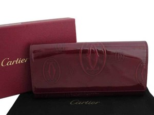 Cartier Cartier Wallet Happy Birthday Burgundy Patent Leather Long Bi-Fold Womens Mens