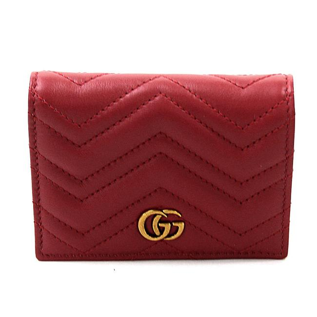 Item - Red Color Folded Card Case Double G Leather 2410 Wallet
