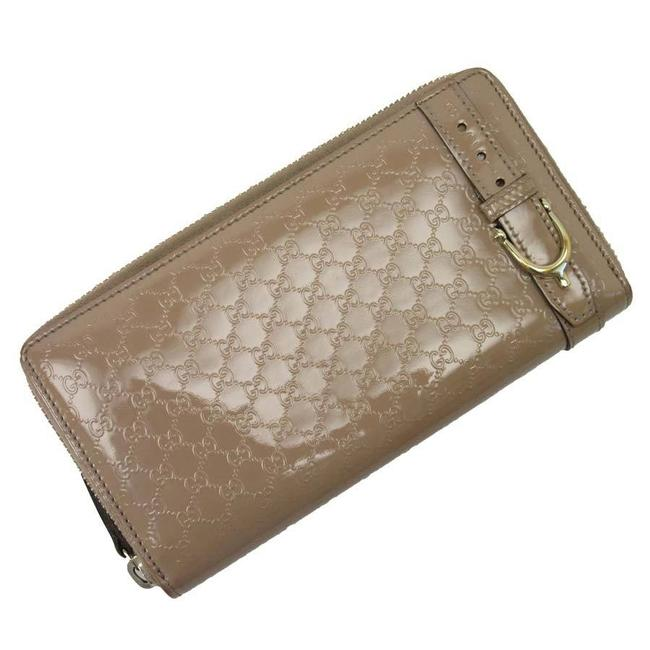Item - Gold / Pink Long Zipper Micro Gg Shima Patent Leather Ladies 2537 Wallet