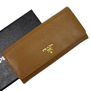 Prada Prada Long Wallet Continental Brown Gold Saffiano Leather Ladie