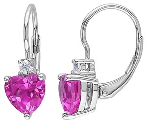 3 15 Ct Tgw Pink Sapphire White Sapphire Heart Love Leverback Earrings Silver