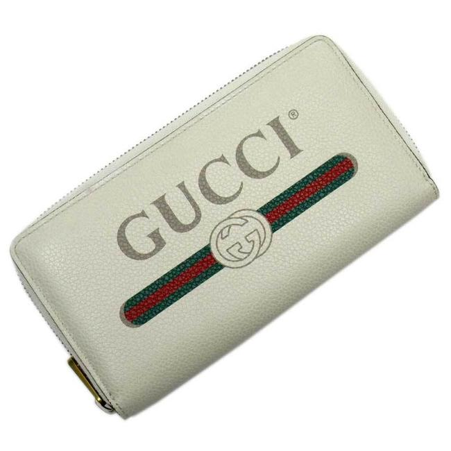 Item - Green / Ivory / Red Color Round Zipper Print Gold Leather Ladies Men's 51216 Wallet
