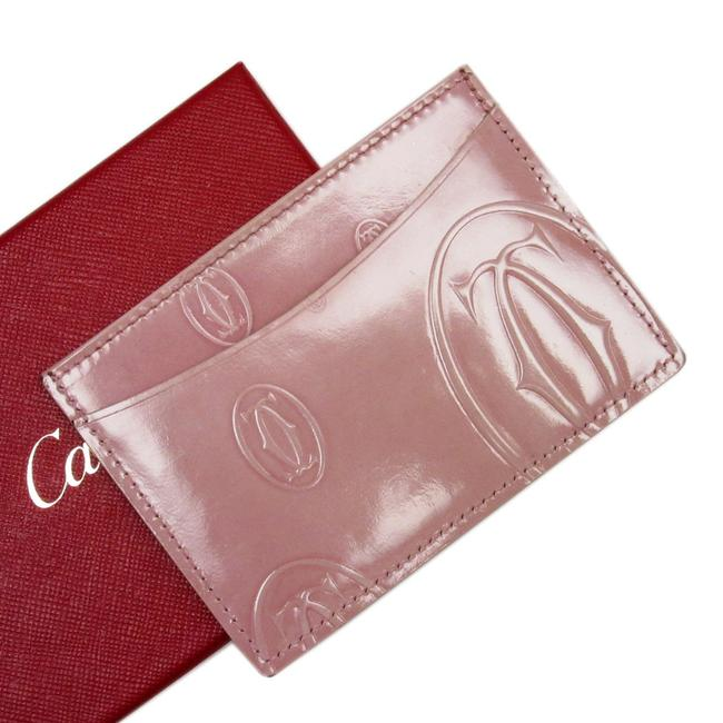 Cartier Pink Card Case Pass Happy Birthday Patent Leather Ladies A1470 Wallet Cartier Pink Card Case Pass Happy Birthday Patent Leather Ladies A1470 Wallet Image 1