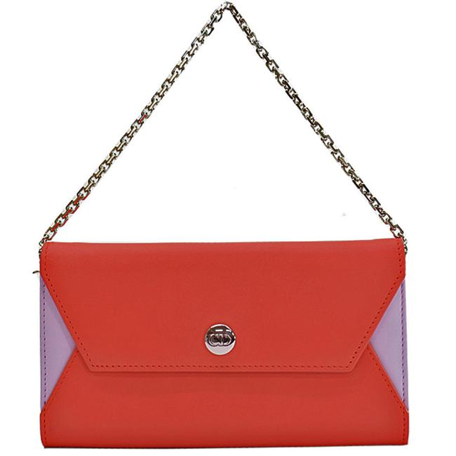 Item - Pink / Purple / Red Color Silver Leather Chain Ladies 51669 Wallet