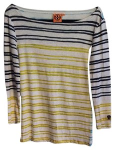 Tory Burch T Shirt Navy, Citrus Green, & Electric Blue stripe on white