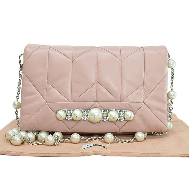 Item - Faux Crystal Shoulder Ladies R7770d Pearl White / Pink / Silver Leather Clutch