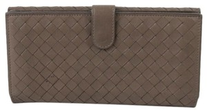 Bottega Veneta Bottega Veneta BOTTEGA VENETA W Hook Bifold Long Wallet Intrecciato Brown Lamb Leather Ladies Men 2099