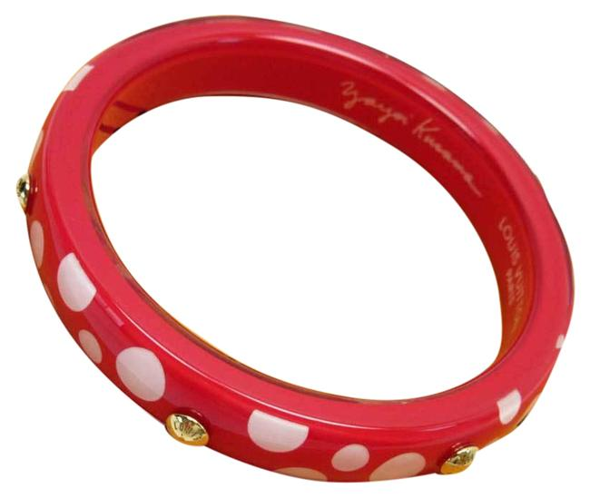 Item - Gold / Red Color / White Bangle Brass Dot Infinity Acrylic Ladies M66684 2339 Bracelet