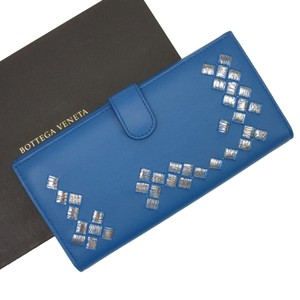Bottega Veneta Bottega Veneta W Hook Bifold Wallet Intrecciato Blue Leather Women's 2778