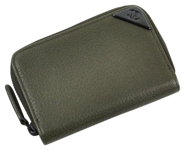 Item - Olive Coin Case Coco Mark Green Leather Ladies' Men's Y14176a Wallet