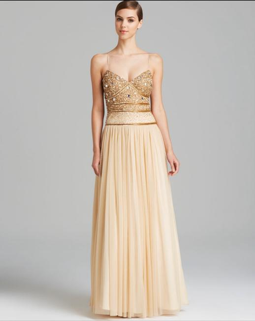Item - Antique Gold Spaghetti Strap Beaded Bodice Tulle Gown Formal Bridesmaid/Mob Dress Size 6 (S)