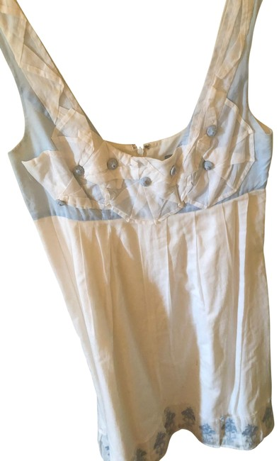 Item - White and Blue Mid-length Cocktail Dress Size 0 (XS)